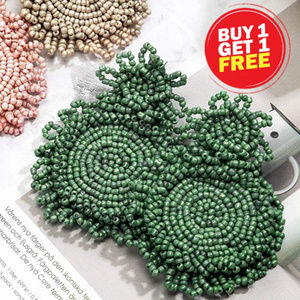 BOGO! Green Beaded Statement Earrings